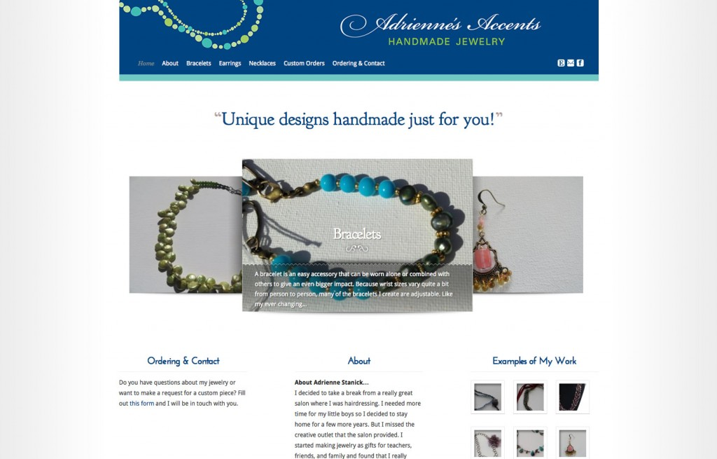 Latest Project: Adrienne's Accents – WordPress Theme #soup2nutsblogs